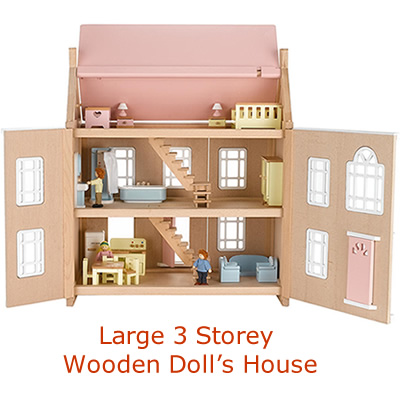 31a9b6b2a82 John Lewis Big 3 storey Wooden dolls house family of dolls and furniture  available to buy
