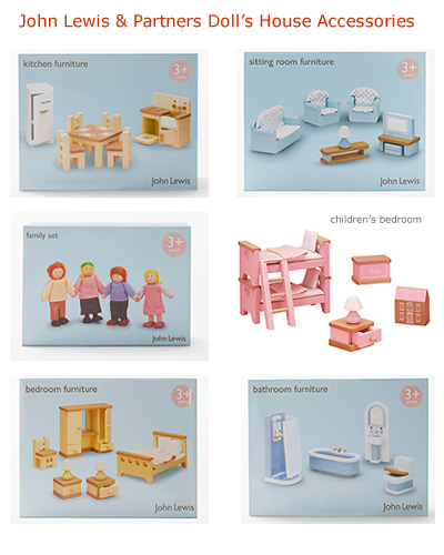 John Lewis Furniture and family of dolls to to fit large 3 storey Wooden doll's house