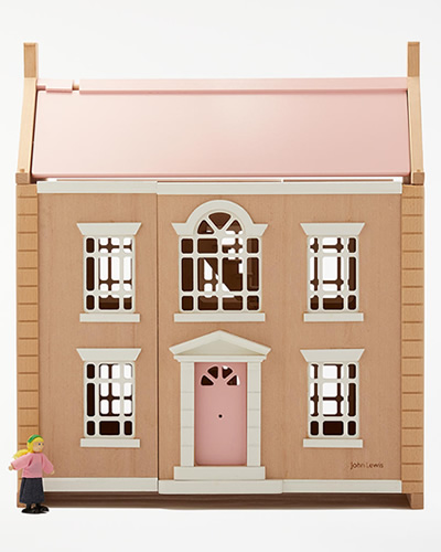 John Lewis & Partners Leckford Large Wooden Doll's House amily of dolls and furniture available to buy