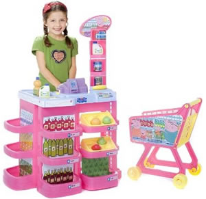 Pretend shopping trolley with groceries cash till